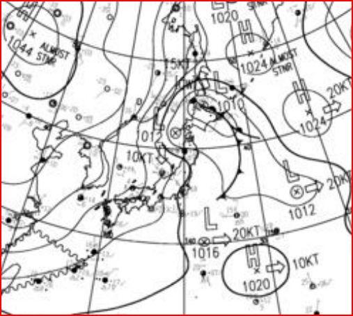 12月30日09時の地上実況天気図