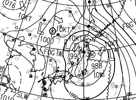 ① 4日15時地上天気図 asas