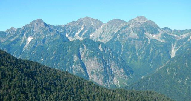穂高連峰を間近に見る