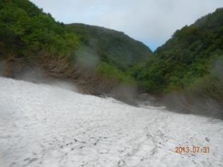 硫黄沢 雪渓の下り