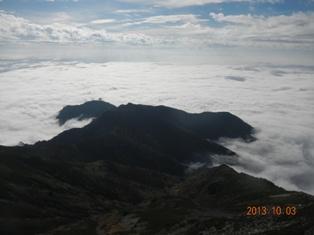南西尾根と雲海