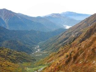蒲田川左俣の紅葉と焼岳、乗鞍