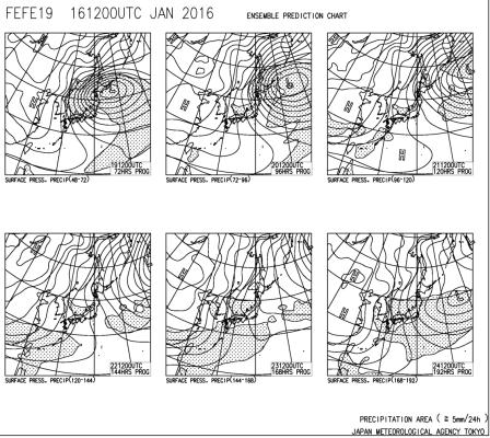 週間予報天気図160119 0124